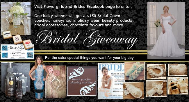 Enter to win: AMAZING BRIDAL GIVEAWAY - from bridal gown voucher, beauty products, bridal accessories, honeymoon wear, chocolate favours and more .....   http://www.dango.co.nz/s.php?u=js7icGq42521