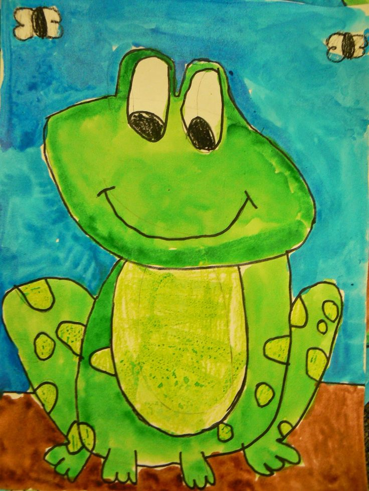 "1st Grade Frog Project:""We drew and painted frogs and then wrote frog facts…"