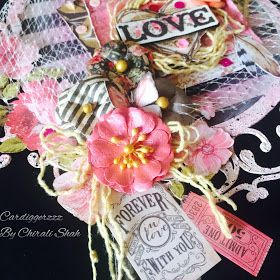 Double side layout with prima marketing papers, flowers and dusty attic chipboard.