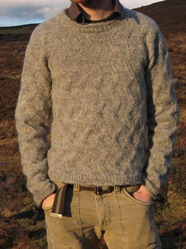 Men's Raised zigzag sweater knitting pattern