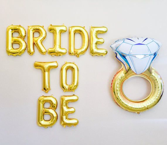 Bride to Be Balloon Bride to Be Banner Gold Letter by girlygifts07
