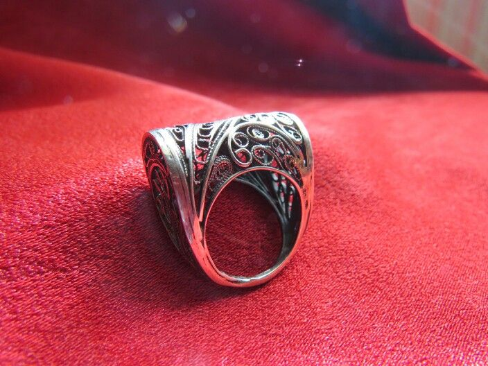 Silver ring   shape as a bag  #handmade #filigree #ring #silver