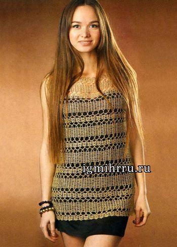 Bellissima maglietta realizzata con delle strisce all'uncinetto stile Bruges. (dal web)