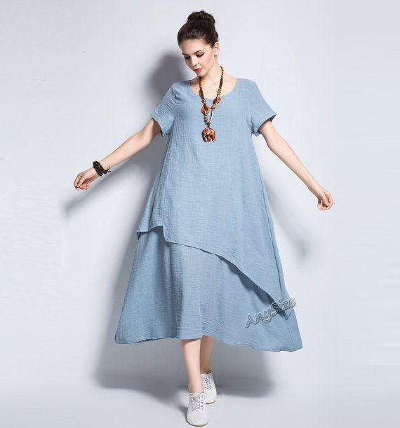 Anysize retro soft linen & cotton dress plus size dress plus size tops plus size…