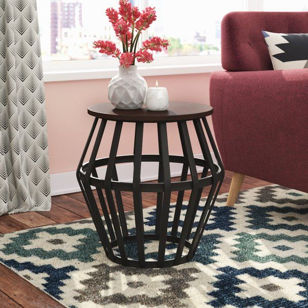 Featuring A Round Metal Silhouette In A Slate Black Finish This Coffee Table Brings Relaxed Cafe Style To Your Living End Tables Table End Tables With Storage