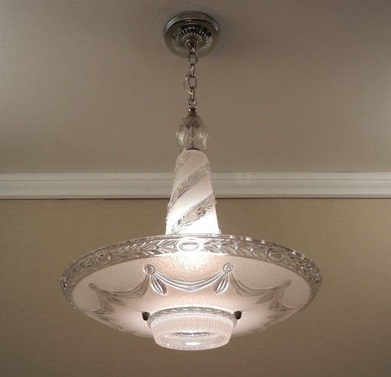 Vintage chandelier art deco style 1940s pressed glass rewired