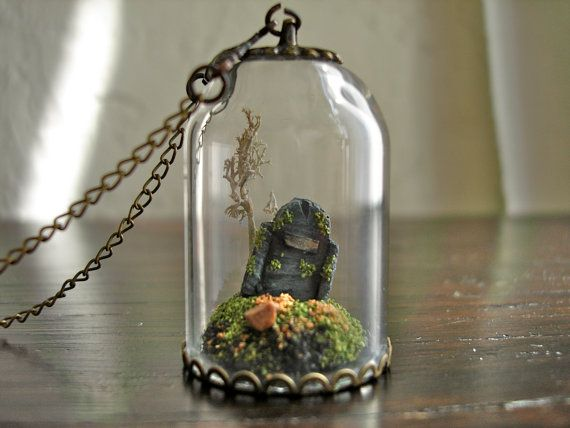 69 best terrarium glass dome pendant necklaces rings images on grave in miniature glass dome necklace by madkingsandqueens 2700 aloadofball Image collections