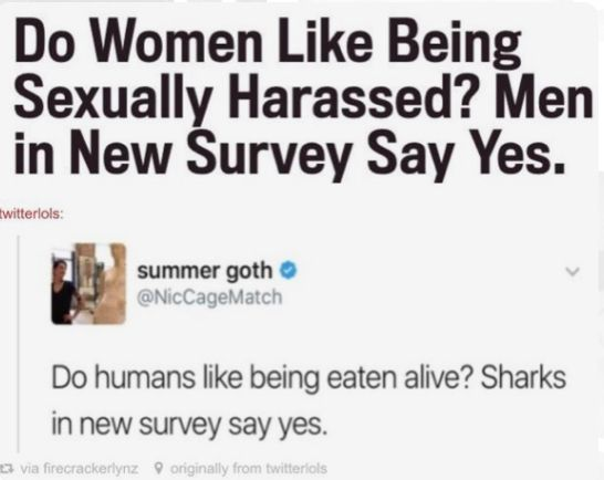 You can see how ignorant this is because the survey is about women but men answered the question not women