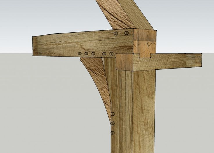 Showing the joint detail for the tie beam with a dovetailed joint in the top plate and 14th century brace design. - http://www.tradoak.com/oak-framing/?utm_content=buffer1f6d3&utm_medium=social&utm_source=pinterest.com&utm_campaign=buffer