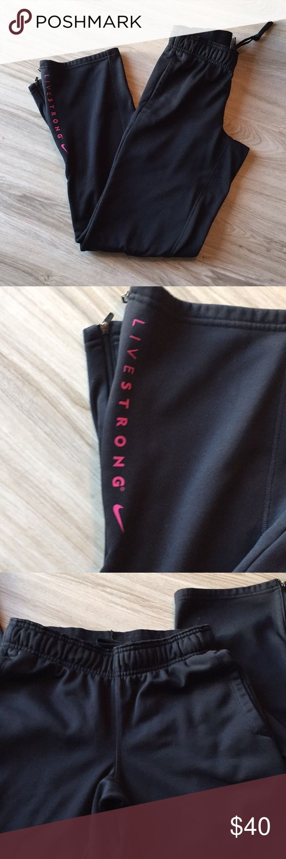 Nike livestrong sweatpants Like new Nike livestrong sweatpants with pink logo on the leg as pictured. Nice thick material and fit in a more flattering way than most sweats! I love these I just never wear sweat pants . Nike Pants Track Pants & Joggers