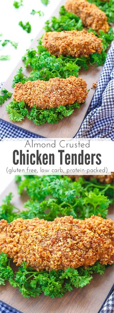 Almond crusted chicken tenders make a quick and delicious snack by dipping juicy chicken breast tenders and breading them in a combination of crunchy almond pieces, garlic, and cumin to make one addictingly satisfying gluten free, protein packed, and low carb dish that's slightly sweet and oh so savory that everyone will love! via @blessherheartya