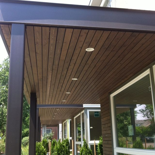 Awning with wood underside