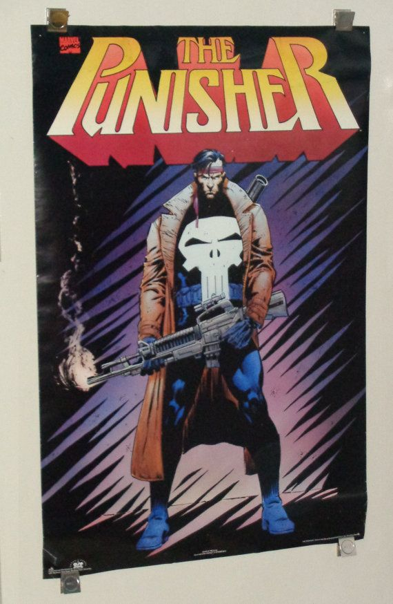 Rare vintage original 1994 Marvel Comics The Punisher 35 by 23 poster with art by Jim Lee:1990's Marvel Universe comic book superhero pin-up