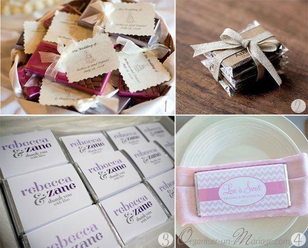 Des tablettes de chocolat en cadeau pour les invités... Hum quelle bonne idée !