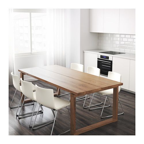 MÖRBYLÅNGA Table IKEA Table with a top layer of solid wood, a durable natural material that can be sanded and surface treated when required.