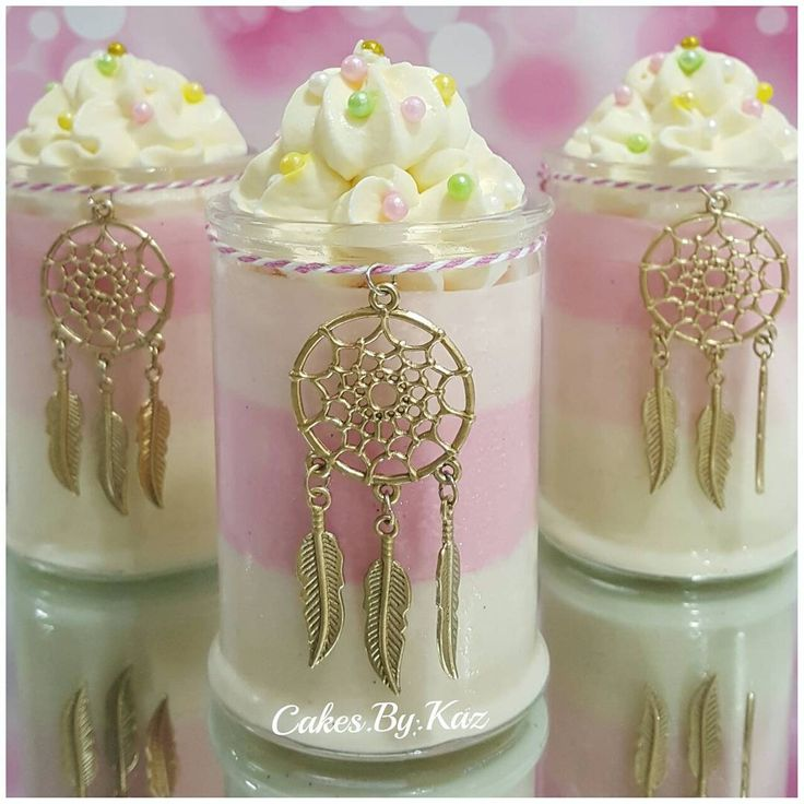 Mini dessert , Panna Cotta in ombre pink , topped with fresh cream & dreamcatcher charms Cakes.By.Kaz