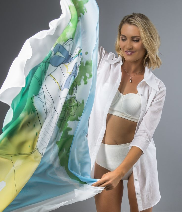 Pine Tree Resort Scarf   Australian Made Designer Scarf   The Shirt Muse