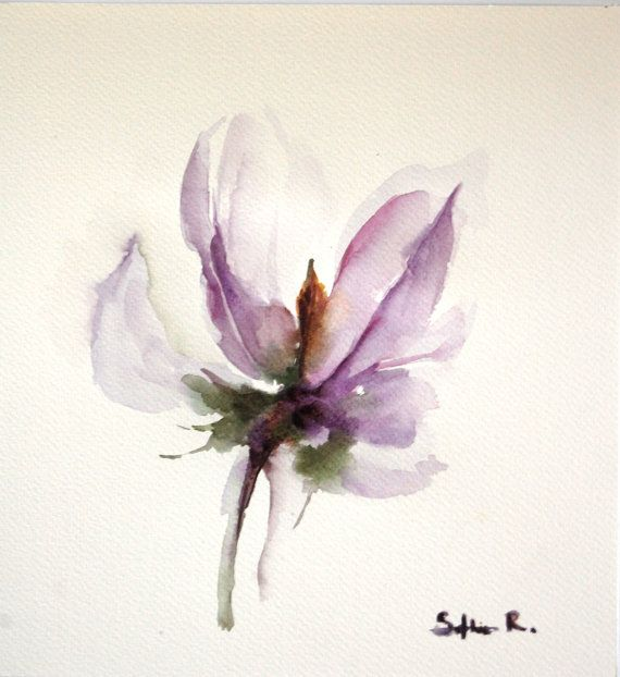 Original Watercolor Painting of Purple Lavender Flower - Flower of My Heart - Abstract Flower Watercolor Art