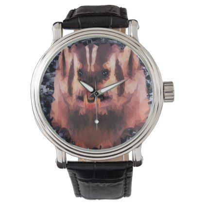 Angry Badger Picture Made With Triangles Wrist Watch - accessories accessory gift idea stylish unique custom