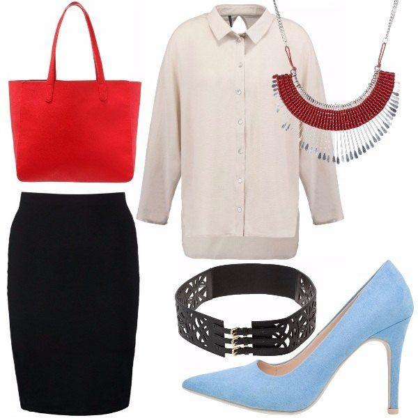 Outfit da ufficio, austero ma con un tocco di colore. La gonna a vita alta, lunghezza al ginocchio, è tenuta dalla cintura legata in vita. La camicia elegante ma fresca, è arricchita dalla collana rossa che riprende il colore della borsa. Le scarpe smorzano il tutto.