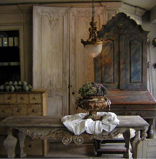 Love all of this rustic, antique looking furniture