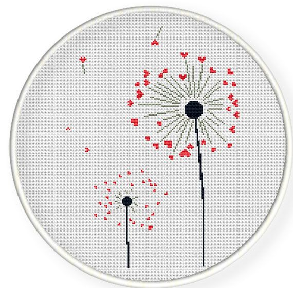 Buy 4 get 1 free ,Buy 6 get 2 free,Cross stitch pattern, PDF,heart dandelion,ZXXC0276. $4.50, via Etsy.
