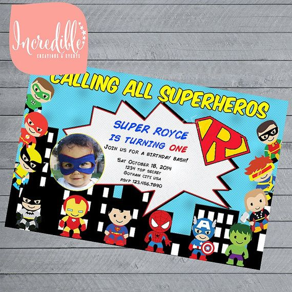 Superhero Birthday Party Invitation  First by IncredibleCE on Etsy