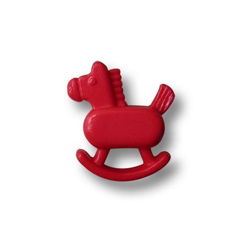 Die kleinen hübschen Kinderknöpfe sind aus Kunststoff gefertigt. Die Knöpfe sind rot. Die Form der Kunststoffknöpfe ist einem nostalgischen Schaukelpferd nachempfunden. Die Nachbildung des Schaukelpferdes ist relativ authentisch und die...