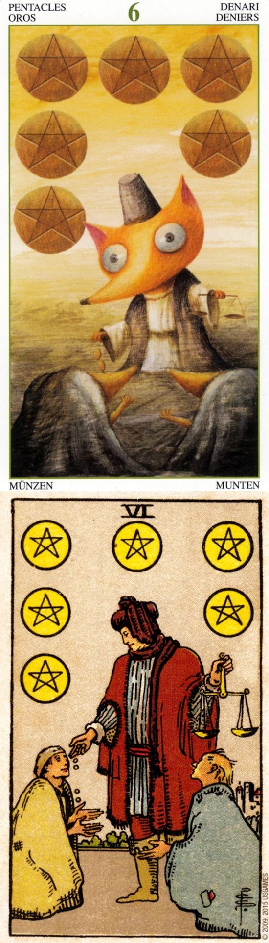 Six of Pentacles: generosity and selfish (reverse). Magical Tarot deck and Rider Centenial Tarot deck: tarotjapan, online tarot card deck and free physic reading. Best 2018 lenormand and fortune telling cards.