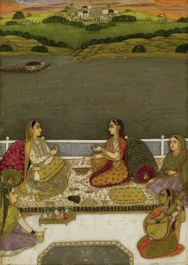 Two ladies on terrace. Lucknow. Mughal India.