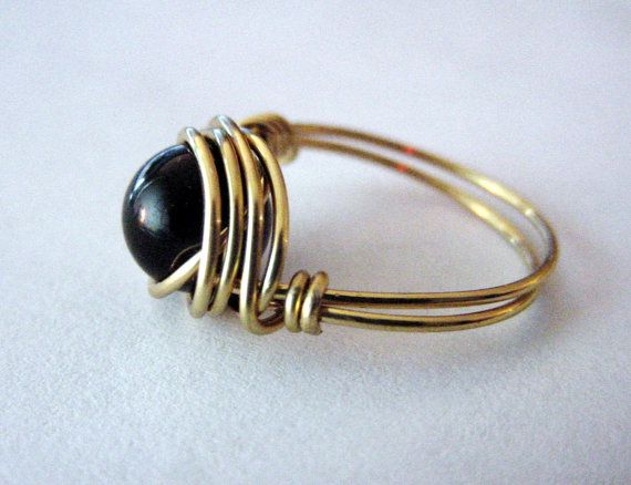 Black Onyx  Wire Wrapped Ring Brass Wire by CherylsHealingGems, $18.00. FREE US SHIPPING