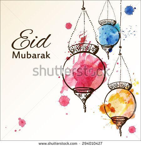 Eid Mubarak background. Eid Mubarak - traditional Muslim greeting. Festive hanging watercolor arabic lamps. Greeting card or invitation for Moslem Community events. Vector illustration.