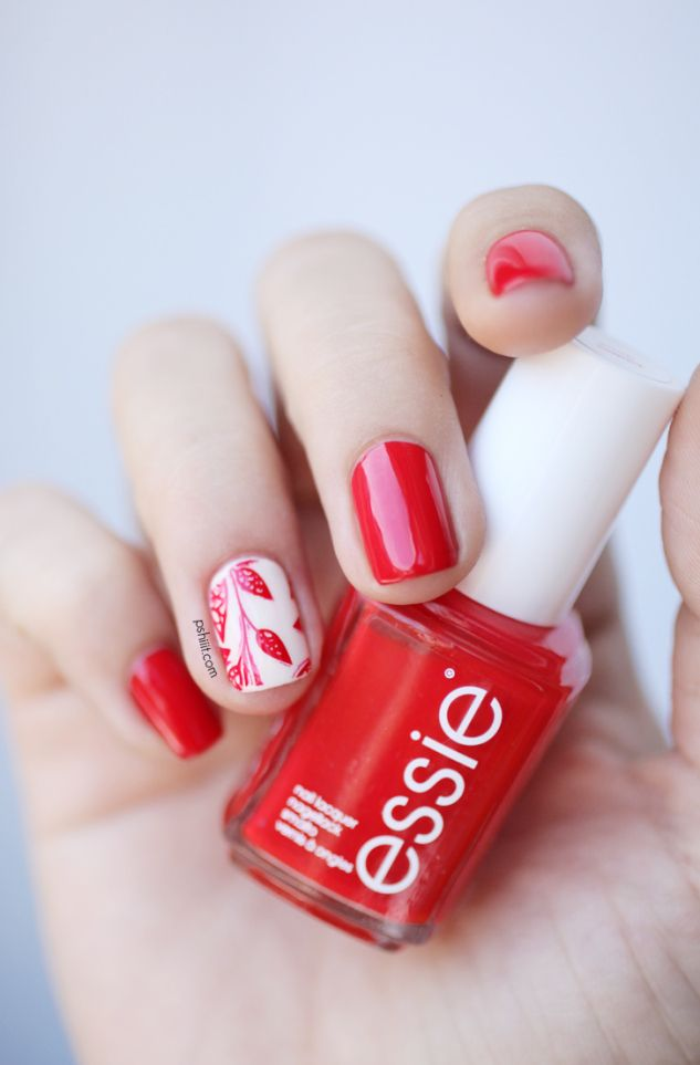 Red floral nail art: two color colour design: red nails with one accent nail white and red floral design