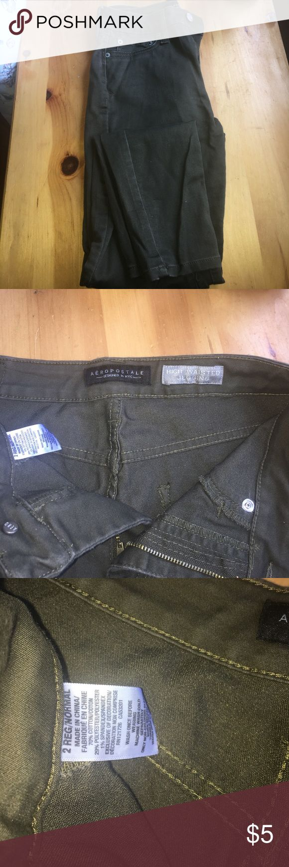 Olive/Army Green Aeropostale Jeggings High waist Jeggings from Aeropostale. Olive/army green color. Super soft! Never worn. Aeropostale Pants Skinny