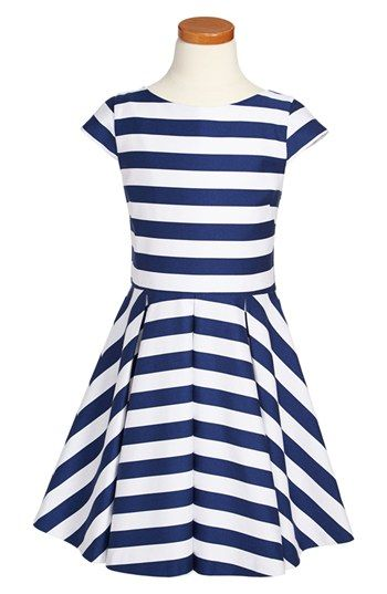 """Appropriate but not """"baby-ish"""" for my tween!  Maria Casero Stripe Dress (Big Girls) available at #Nordstrom #tween"""