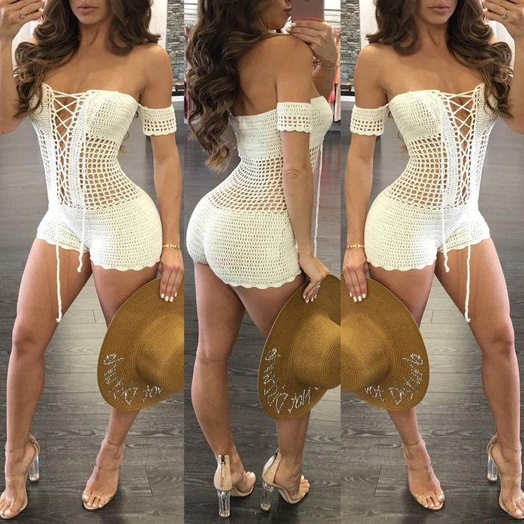 Sexy Crochet Off Shoulder Lace-up Romper