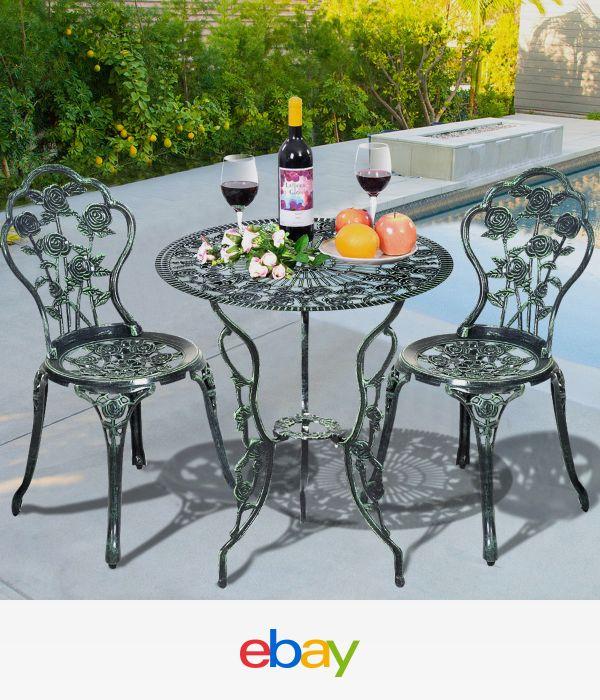 Details about Patio Furniture Cast Aluminum Rose Design Bistro Set Antique  Green GOPLUS