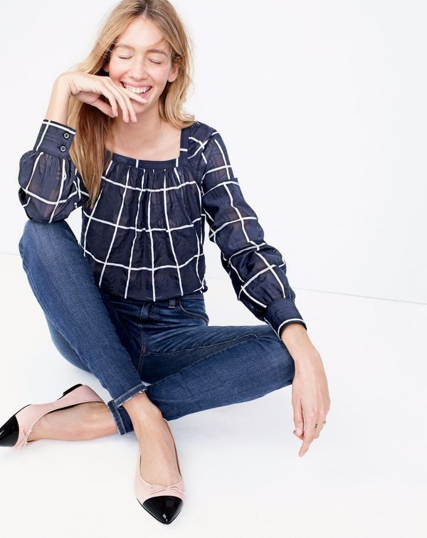 J.Crew women's Penny windowpane top with cuffed sleeves, lookout high-rise jean in Meyer wash, and Gemma cap-toe flats.