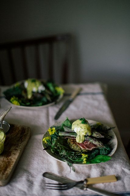 asparagus benedict on quinoa nettle cakes with lovage & mint aioli by Beth Kirby | {local milk}, via Flickr