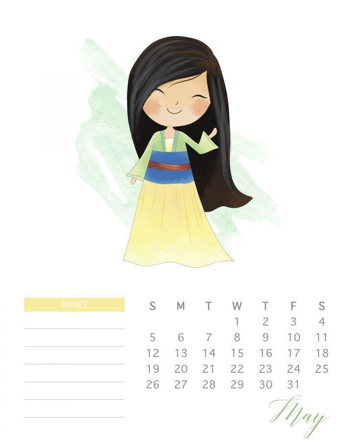 Free Printable 2019 Watercolor Princess Calendar | Bujo ...