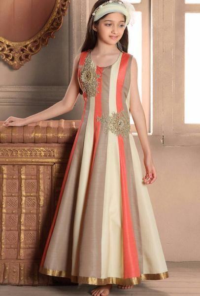 Beige Designer Party Wear Dress