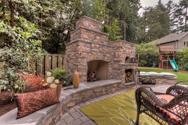 and pizza oven photo with small backyard design ideas and outdoor