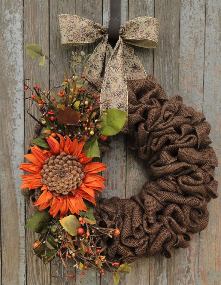 Fall Burlap Wreath, Sunflower Burlap Wreath, Autumn Burlap Wreath, Fall…