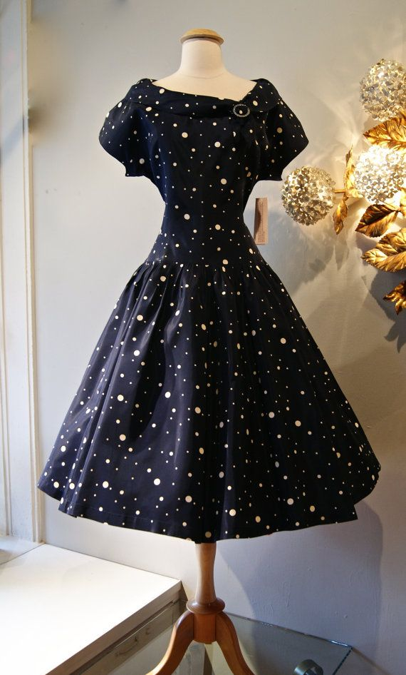 50s Dress // Vintage 1950s Polka Dot Dropped by xtabayvintage, $148.00