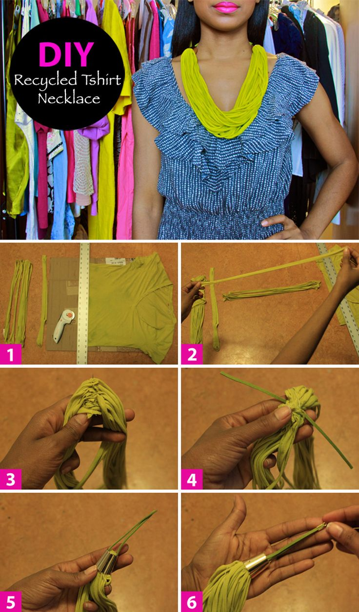 Recycled Tshirt Necklace #DIY #Tshirt #Fashion #Accessories #Jewelry