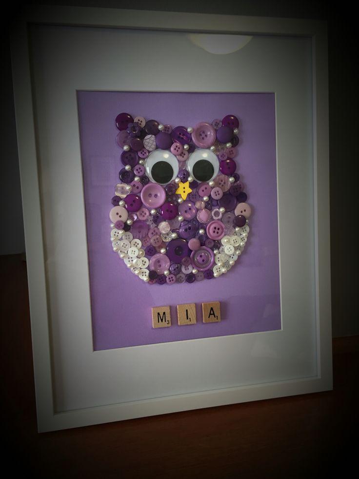 Button Art Owl
