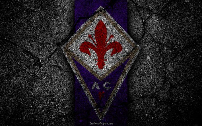 Descargar fondos de pantalla Fiorentina, logotipo, del arte, de la Serie a, fútbol, club de fútbol, el ACF Fiorentina, asfalto textura