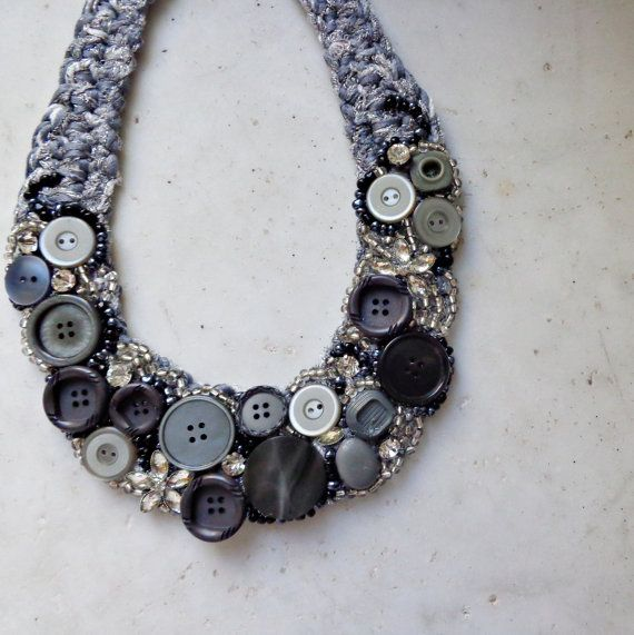 Necklace with grey buttons, necklace with strass, necklace with sparkling crystals, crochet necklace, beaded necklace