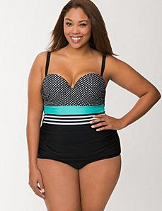 Mixed print maillot with built-in balconette bra $119 plus size swimwear 2014