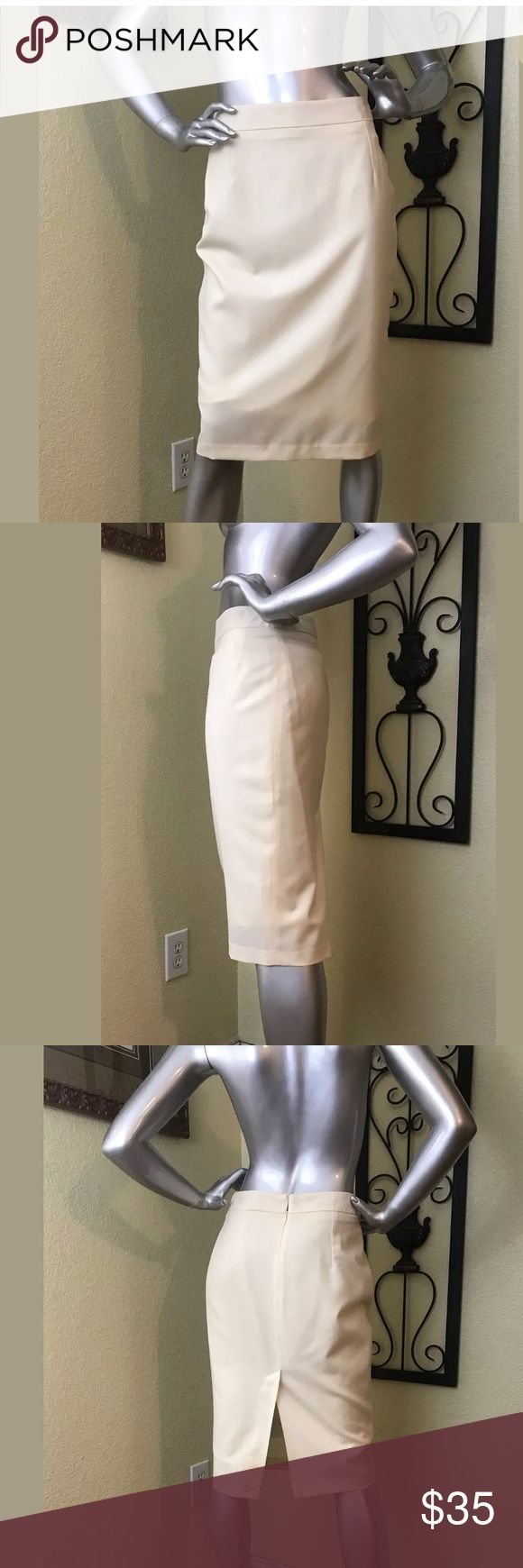 """H&M M BY MADONNA Cream Pencil Skirt Women's M BY MADONNA Cream Pencil Skirt. Back Slit. Back Zip Closure. Lined. Size 8 100% Wool. Machine Washable/Dry Clean. Made in Romania.  This skirt is excellent preowned condition, however there are two tiny holes at waist where sensors were removed.   Approximated  Measurements (All measurements are taken with garment unstretched, lying flat, from side to side, one side only, double for circumference): 13.5"""" Waist 25"""" Length 10.5"""" Back Slit H&M Skirts…"""
